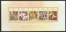 AUSTRALIA CHRISTMAS ISLAND 1994 ORCHIDS FLOWER SOUVENIR SHEET OF 5 STAMPS MINT