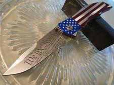 """Mtech Assisted Open We The People USA Flag Pocket Knife Hogarth A849CL 9"""" Open"""