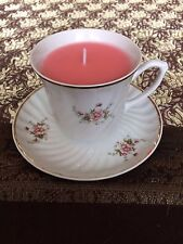TAZZA DA TE CANDELA, portelanul ALBA Lulia, minuscoli Rosa Flower Design, ROSE PROFUMO DI CERA