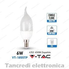 Lampadina led V-TAC 6W = 40W E14 bianco naturale 4500K VT-1855TP fiamma SMD VTAC