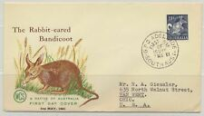 Australia Sc. 323 Rabbit Bandicoot on 1961 Fdc