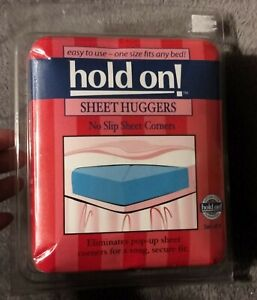 NEW Set Of 4 Hold On! Sheet Huggers, No Slip Sheet Corners, One Size Fits All