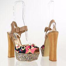 Women's Steve Madden Jillyy Floral Beige Leather Synthetic Platform Heels Sz 7 M