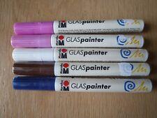 Marabu Glass Painter Pens x 5, Set 10, Brown, Blue, White, Magenta, Rose Pink