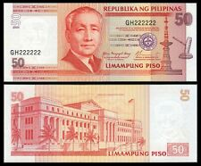 2004 NEW SERIES 50 Pesos SOLID Number HJ444444  Philippine Banknote