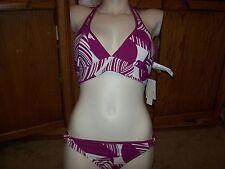 NEW Roxy Raisins bikini swimsuit purple 2pc set reversible halter top SMALL