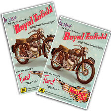 "Two 1954 Royal Enfield Motorcycle Meteor 700 11x17"" Reproduction Posters"