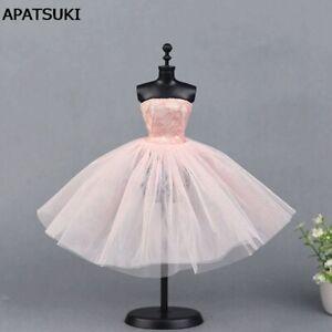Pink Ballet Dress For Barbie Doll One Piece Evening Dresses Vestido Clothes 1/6