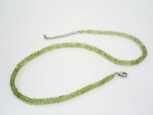 TGGC FACETED PERIDOT RONDELLE BEADS 16 ins NECKLACE/925 STERLING SILVER CLASP