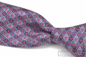 "STEFANO RICCI Pink Blue Geometric 100% Silk Mens Luxury Tie - 3.125"""