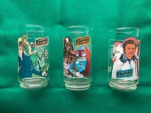 Set of 3 Star Wars Empire Strikes Back Burger King/Coca Cola Glasses 1980