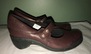 MERRELL Burgundy Veranda Emme Mary Jane leather comfort shoes Womens Sz 7