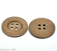 10 Gift Coffee 4 Holes Big Wood Sewing Buttons For Sweater Overcoat 5cm Dia