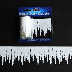 2m Window Border Cling Sticker Decal WHITE ICICLES SNOWY Christmas Decoration