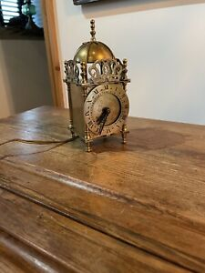 Vintage Lantern Clock , Brass Smiths Electric Lantern Clock Genalex C:-1940s..