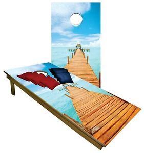 CORNHOLE BEANBAG TOSS GAME w Bags Game Board Boardwalk Ocean Beach Set