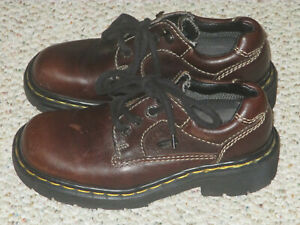 Dr. Martens Youth 3 Brown Leather Lace Up Air Cushioned Sole Oxford Shoe England