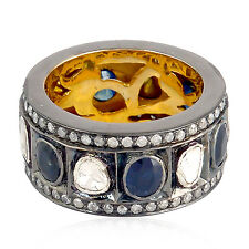 3.1ct Sapphire Rose Cut Diamond Band Ring 14kt Gold .925 Sterling Silver Jewelry