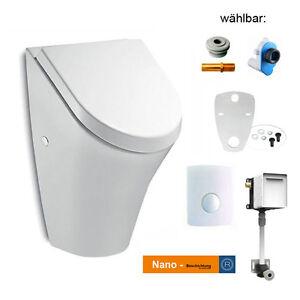 Urinal mit Deckel ROCA NEXO SOFTCLOSE 735364K Rohbau Set Siphon Druckspüler