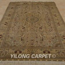 Yilong 5'x8' Hand Knotted Silk Rugs Traditional Indoor Oriental Carpets 1024