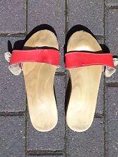 BERKEMANN HOLZ KLEPPER TRUE VINTAGE 39 Sandalen Schlappen Clogs rot Pantoletten