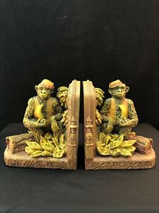 Whimsical Monkey Bookends Resin c. 1999