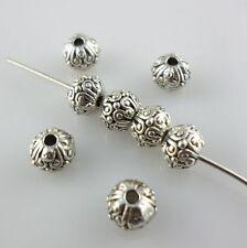 20pcs Tibetan Silver Round Charm Spacer Beads DIY Jewelry Beading 5.5x6.5mm
