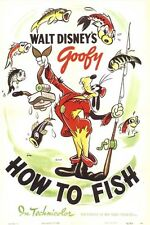 How to fish Goofy Disney cult cartoon movie poster print