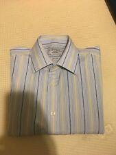 """CHARLES TYRWHITT Blue Men's Long Sleeved Striped Shirt Size Collar 15.5""""/35"""""""
