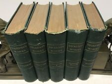 1877~Dickens~Antique Green Gold 5 Book DISTRESSED Lot~Curiosity Shop~Sketches