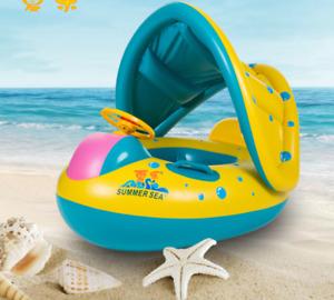 Kinder Schwimmsitz Babyboot Aufblasbar Sonnenschutz Schwimmring Schwimmhilfe Neu