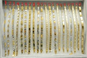 Men's Bracelet Cuban Link Chain Yellow Gold Mix Silver Bracelet for Women Men