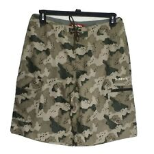 "Simms Fishing Products Mens Camo Fishing Board Shorts Size Medium 11""Inseam"