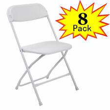 (8 Pack) Commercial Wedding Quality Stackable Plastic Folding Chairs White