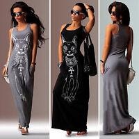 Womens Summer Long Maxi Dress Cat Print Sleeveless Casual Sundress With Pockets
