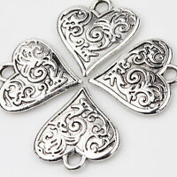 10PCS Tibet Silver Love Heart Beads Charm Pendant Flower Carved Jewelry Making