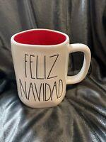 "New Ceramic RAE DUNN Christmas ""Feliz Navidad"" Mug Ivory With Red Interior-"