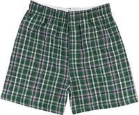 Boxercraft Men's Cotton Flannel Plaid Boxer Shorts, Medium, Green/Black Plaid