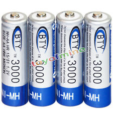 4x AA battery batteries Bulk Nickel Hydride Rechargeable NI-MH 3000mAh 1.2V BTY