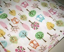 POTTERY BARN Kids Twin Size OWLS & TREES 100% Cotton Flat Bed Sheet