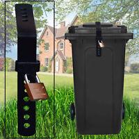 Heavy Duty Wheelie Bin Lid Strap Lock-Easily Fitted & Remove Includes Padlock