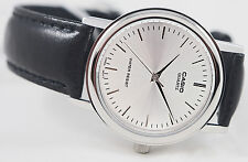 Casio MTP-1095E-7A Mens Silver Analog Watch Quartz Black Leather Band New