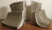 """PM CRAFTSMAN """"TWIN BOOKS"""" CAST METAL BOOKENDS ~ 3.4 Pounds Each ~ Nice!"""