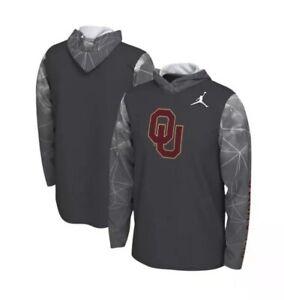 NEW Sz SM Men's Air Jordan X Oklahoma Long Sleeve Hooded Tee Grey Sooners