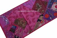 INDIAN EMBROIDERED VINTAGE BEADED ZARI WORK WALL HANGING HANDMADE TAPESTRY DECOR