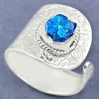 3.25cts Natural Blue Apatite Rough 925 Silver Adjustable Ring Size 8.5 R63373