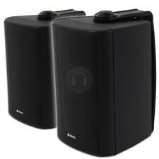 More details for 2x black waterproof wall mountable speakers pa 100v line system 120w ssc2196