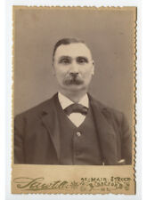 Cab Card Photo Man W/ Mustache From Biddeford, Me, By Sawtelle