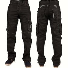 """Hombre Enzo cargo militar vaqueros Denim de Diseño pantalones todas las cinturas corta (30"""") 112cm Ez08 negro"""