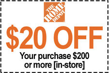 1x Home Depot Coupon $20 Off $200 IN-STORE ONLY -Fast DeIivered